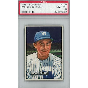 1951 Bowman Baseball #205 Mickey Grasso PSA 8 (NM-MT) *4253 (Reed Buy)