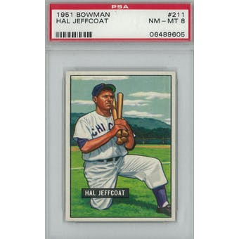 1951 Bowman Baseball #211 Hal Jeffcoat PSA 8 (NM-MT) *9605 (Reed Buy)