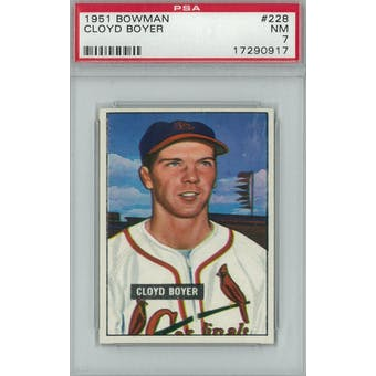1951 Bowman Baseball #228 Cloyd Boyer PSA 7 (NM) *0917 (Reed Buy)