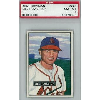 1951 Bowman Baseball #229 Bill Howerton PSA 8 (NM-MT) *8876 (Reed Buy)