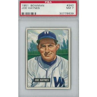 1951 Bowman Baseball #240 Joe Haynes PSA 7 (NM) *8639 (Reed Buy)