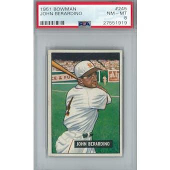 1951 Bowman Baseball #245 John Berardino PSA 8 (NM-MT) *1919 (Reed Buy)