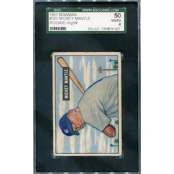 1951 Bowman Baseball #253 Mickey Mantle RC SGC 50 (VG-EX) *6001 (Reed Buy)