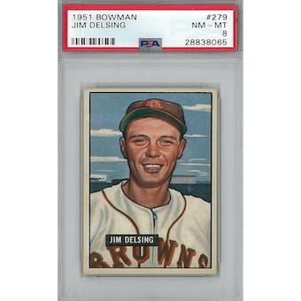 1951 Bowman Baseball #279 Jim Delsing PSA 8 (NM-MT) *8065 (Reed Buy)