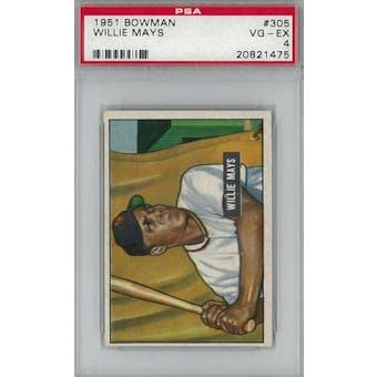 1951 Bowman Baseball #305 Willie Mays PSA 4 (VG-EX) *1475 (Reed Buy)