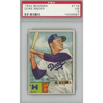 1952 Bowman Baseball #116 Duke Snider PSA 5 (EX) *4687 (Reed Buy)