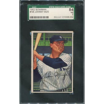 1952 Bowman Baseball #145 Johnny Mize SGC 84 (NM) *6034 (Reed Buy)