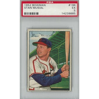 1952 Bowman Baseball #196 Stan Musial PSA 5 (EX) *9885 (Reed Buy)
