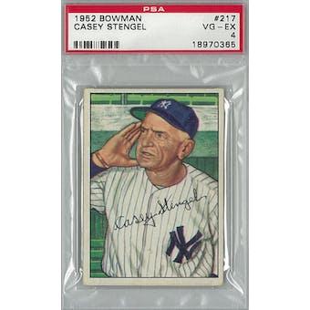 1952 Bowman Baseball #217 Casey Stengel PSA 4 (VG-EX) *0365 (Reed Buy)