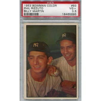1953 Bowman Color Baseball #93 Phil Rizzuto/Billy Martin PSA 3.5 (VG+) *5695 (Reed Buy)