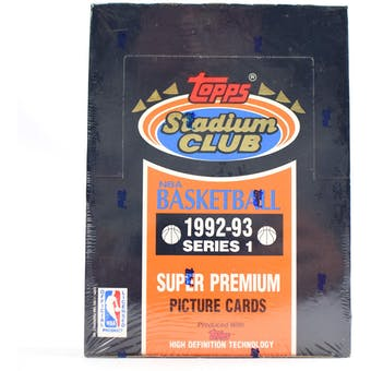 1992/93 Topps Stadium Club Series 1 Basketball Hobby Box (Reed Buy)