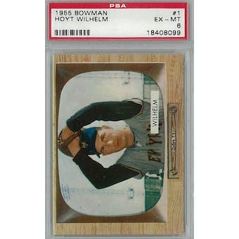 1955 Bowman Baseball #1 Hoyt Wilhelm PSA 6 (EX-MT) *8099 (Reed Buy)