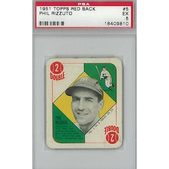 1951 Topps Red Back Baseball #5 Phil Rizzuto PSA 5 (EX) *9810 (Reed Buy)