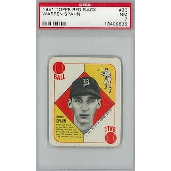 1951 Topps Red Back Baseball #30 Warren Spahn PSA 7 (NM) *9835 (Reed Buy)