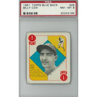 1951 Topps Blue Back Baseball #48 Billy Cox PSA 8 (NM-MT) *3195 (Reed Buy)