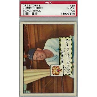 1952 Topps Baseball #28 Jerry Priddy Black Back PSA 7.5 (NM+) *9316 (Reed Buy)