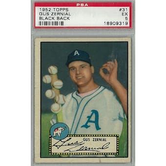 1952 Topps Baseball #31 Gus Zernial Black Back PSA 5 (EX) *9319 (Reed Buy)