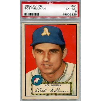 1952 Topps Baseball #41 Bob Wellman Red Back PSA 6 (EX-MT) *9329 (Reed Buy)