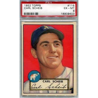 1952 Topps Baseball #116 Carl Scheib PSA 6 (EX-MT) *9403 (Reed Buy)