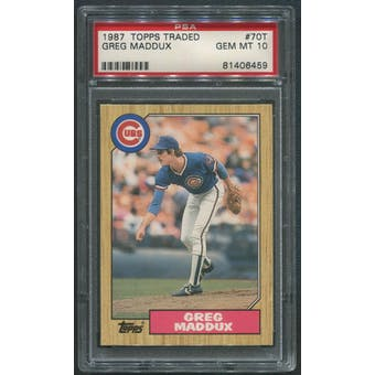 1987 Topps Traded Baseball #70T Greg Maddux Rookie PSA 10 (GEM MT)