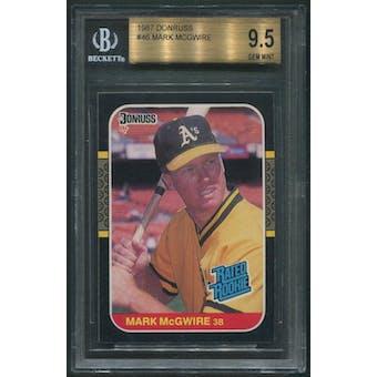 1987 Donruss Baseball #46 Mark McGwire Rookie BGS 9.5 (GEM MINT)