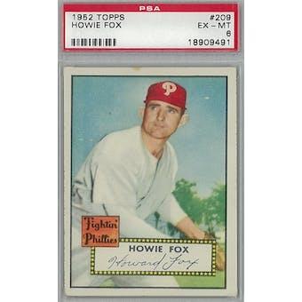 1952 Topps Baseball #209 Howie Fox PSA 6 (EX-MT) *9491 (Reed Buy)