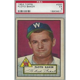 1952 Topps Baseball #292 Floyd Baker PSA 5 (EX) *9571 (Reed Buy)