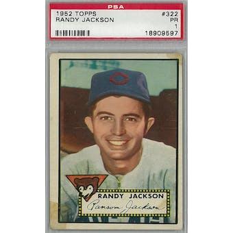 1952 Topps Baseball  #322 Randy Jackson PSA 1 (Poor) *9597 (Reed Buy)
