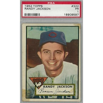1952 Topps Baseball  #322 Randy Jackson PSA 1 (Poor) *9597 (Reed Buy)