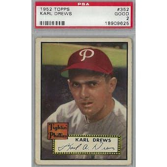 1952 Topps Baseball #352 Karl Drews PSA 2 (Good) *9625 (Reed Buy)