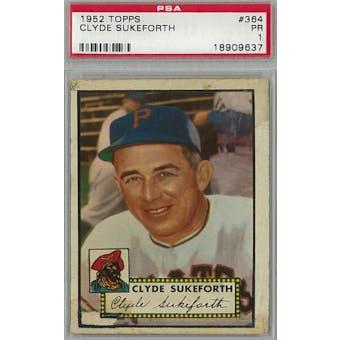 1952 Topps Baseball #364 Clyde Sukeforth PSA 1 (Poor) *9637 (Reed Buy)