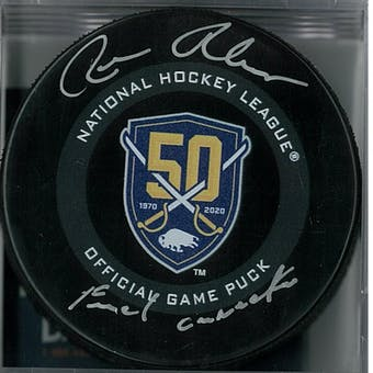 Rene Robert Autographed Buffalo Sabres Official Anniversary Puck French