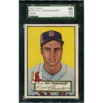 1952 Topps Baseball #376 Faye Throneberry SGC 45 (VG+) *2019 (Reed Buy)