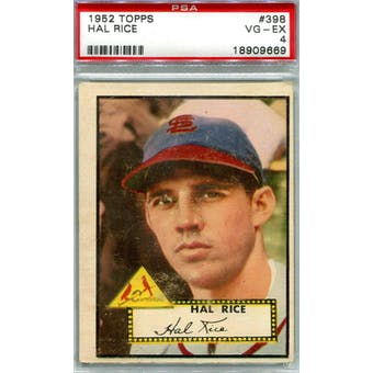 1952 Topps Baseball #398 Hal Rice PSA 4 (VG-EX) *9669 (Reed Buy)