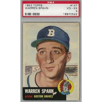 1953 Topps Baseball #147 Warren Spahn PSA 4 (VG-EX) *0522 (Reed Buy)