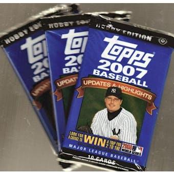 2007 Topps Updates & Highlights Baseball Hobby Pack- 3 Pack Lot