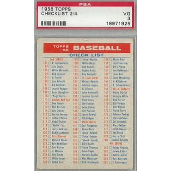 1956 Topps Baseball Checklist 2/4 PSA 3 (VG) *1925 (Reed Buy)