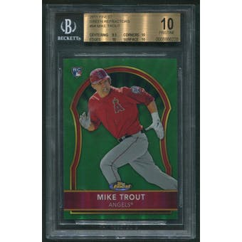 2011 Topps Finest Baseball #94 Mike Trout Green Refractor Rookie #082/199 BGS 10 (PRISTINE)