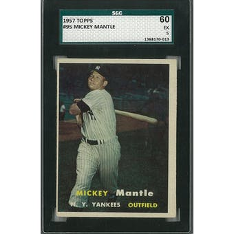 1957 Topps Baseball #95 Mickey Mantle SGC 60 (EX) *0013 (Reed Buy)