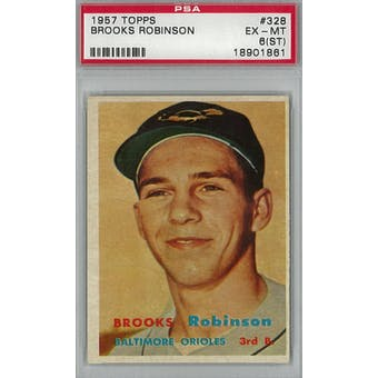 1957 Topps Baseball #328 Brooks Robinson RC PSA 6ST (EX-MT) *1861 (Reed Buy)