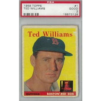 1958 Topps Baseball #1 Ted Williams PSA 2 (Good) *3128 (Reed Buy)