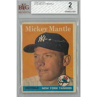 1958 Topps Baseball #150 Mickey Mantle BVG 2 (Good) *2885 (Reed Buy)