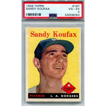 1958 Topps Baseball #187 Sandy Koufax PSA 4 (VG-EX) *8283 (Reed Buy)