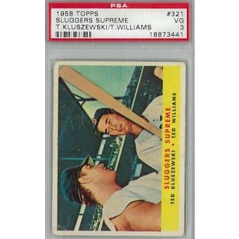 1958 Topps Baseball #321 Sluggers Supreme PSA 3 (VG) *3441 (Reed Buy)