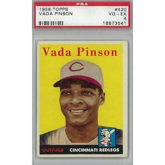 1958 Topps Baseball #420 Vada Pinson RC PSA 4 (VG-EX) *3541 (Reed Buy)