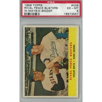 1958 Topps Baseball #436 Rival Fence Busters PSA 6 (EX-MT) *3557 (Reed Buy)