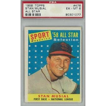 1958 Topps Baseball #476 Stan Musial AS PSA 6 (EX-MT) *1077 (Reed Buy)