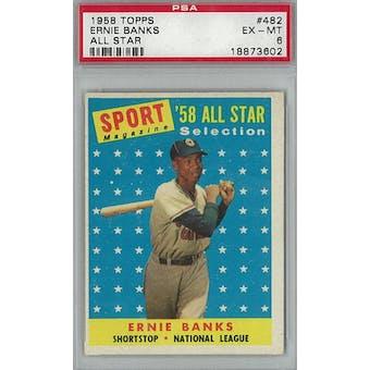1958 Topps Baseball #482 Ernie Banks AS PSA 6 (EX-MT) *3602 (Reed Buy)
