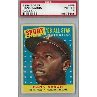 1958 Topps Baseball  #488 Hank Aaron AS PSA 4 (VG-EX) *3608 (Reed Buy)