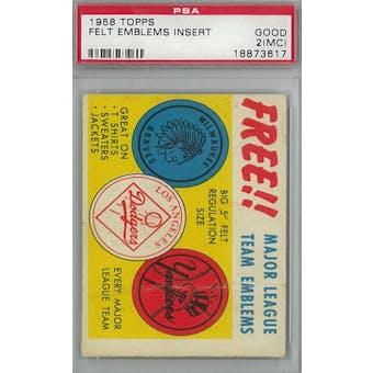 1958 Topps Baseball Felt Emblems Insert PSA 2MC (Good) *3617 (Reed Buy)